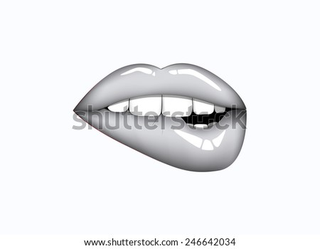 Closeup of sensuous woman biting gray lips. Open mouth with gray lip biting. - stock vector