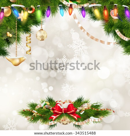 Closeup on Christmas decoration over bokeh background. EPS 10 vector file included - stock vector