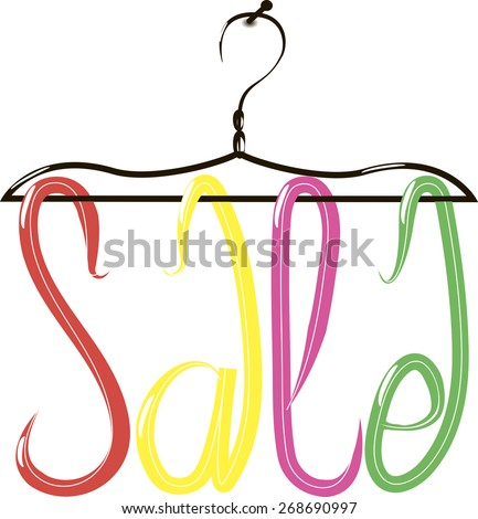 Cloth hanger with price tags. Sale text.