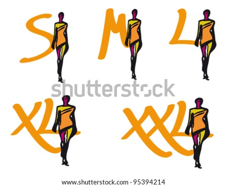 Cloth sizes marks - stock vector