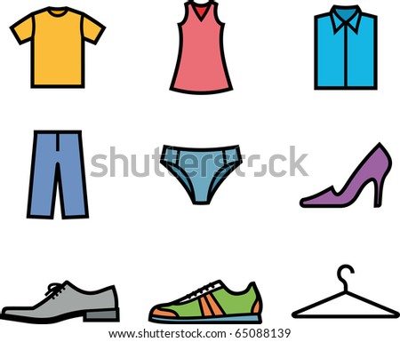 Clothes and shoes. Garment (Vector icons) - stock vector