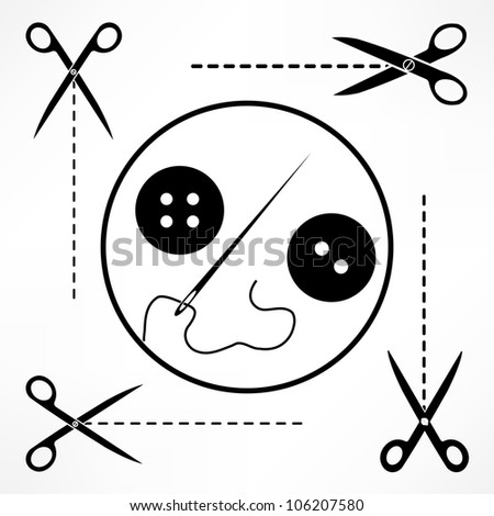 Clothes button set with needle - stock vector