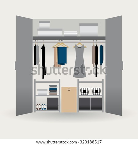 Clothes Closet Organized With Sober Colors, Boxes, Pants, Dress, Sweater,  Shoes