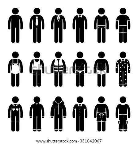 Clothes Clothing Attire for Different Occasions, Time, and Activity Pictogram
