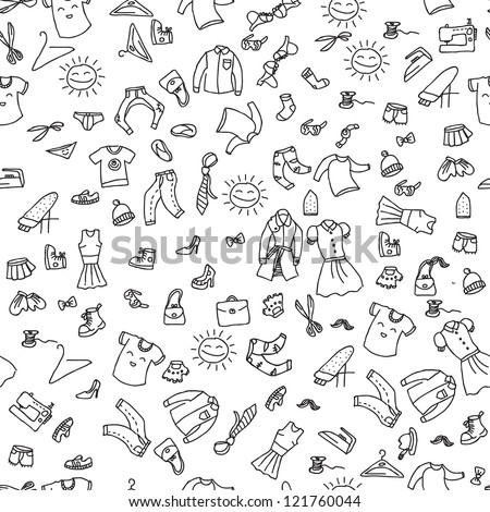 Clothes fashion seamless pattern - stock vector