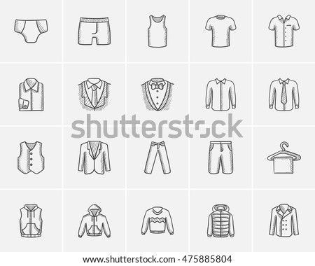 Clothes for men sketch icon set for web, mobile and infographics. Hand drawn clothes for men icon set. Clothes for men vector icon set. Clothes for men icon set isolated on white background.