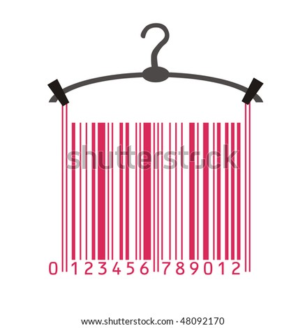 clothes hanger and barcode - stock vector