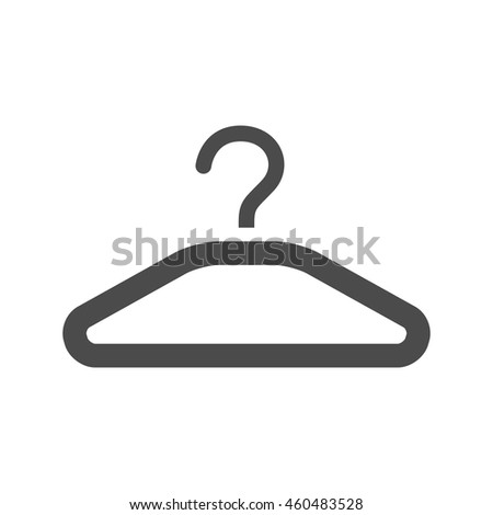 Clothes hanger icon in black and white grey single color. Laundry household - stock vector