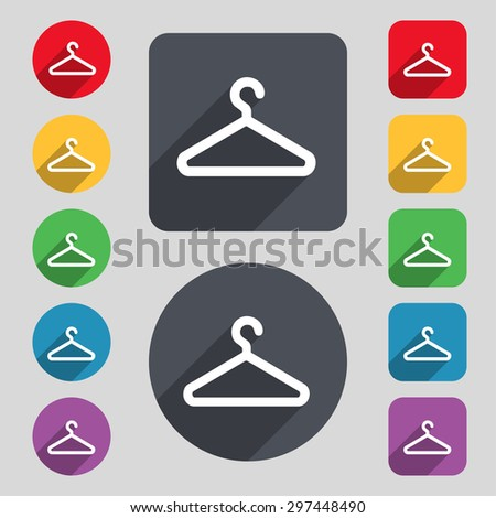 clothes hanger icon sign. A set of 12 colored buttons and a long shadow. Flat design. Vector illustration - stock vector