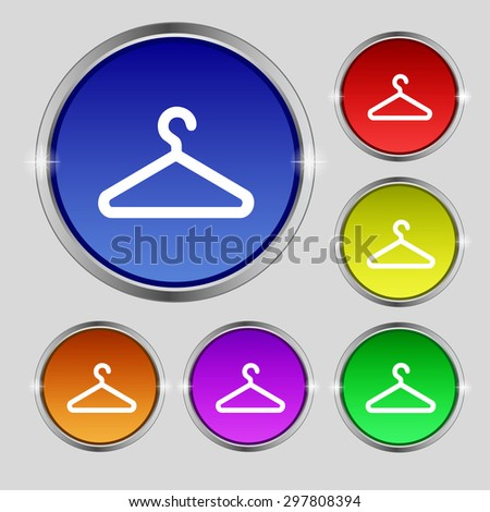clothes hanger icon sign. Round symbol on bright colourful buttons. Vector illustration - stock vector