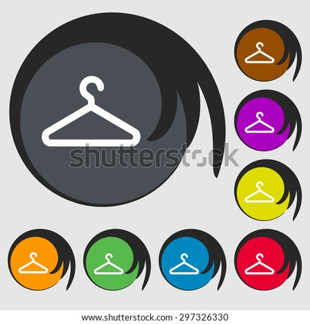clothes hanger icon sign. Symbol on eight colored buttons. Vector illustration - stock vector