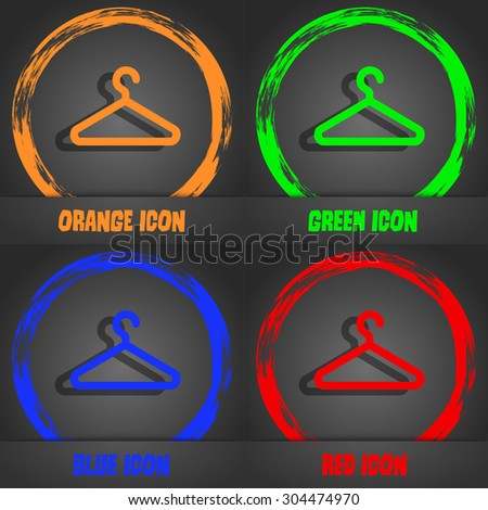 clothes hanger icon symbol. Fashionable modern style. In the orange, green, blue, green design. Vector illustration - stock vector