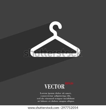 clothes hanger icon symbol Flat modern web design with long shadow and space for your text. Vector illustration - stock vector
