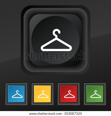 clothes hanger icon symbol. Set of five colorful, stylish buttons on black texture for your design. Vector illustration - stock vector