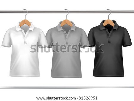 Clothes hanger with shirts. Vector - stock vector