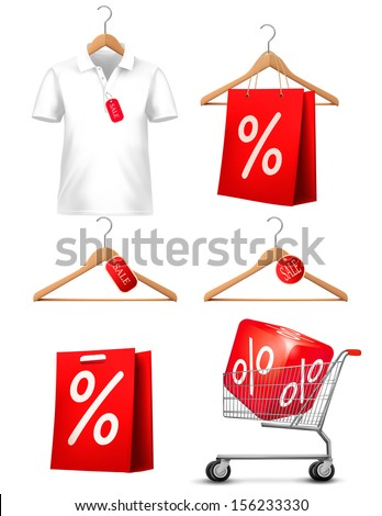 Clothes hanger with shirts with price tag. Concept of discount shopping. Vector. - stock vector