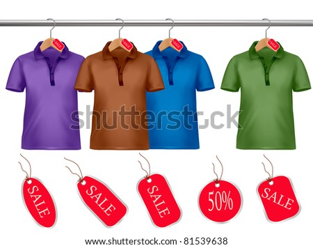 Clothes hanger with shirts with price tags. Vector.