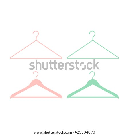 Clothes hangers for fashion store, shop, wardrobe. Simple and minimalistic icons. Collection of clothes hangers symbols. Flat design style signs. Pastel colors. Vector illustration.  - stock vector