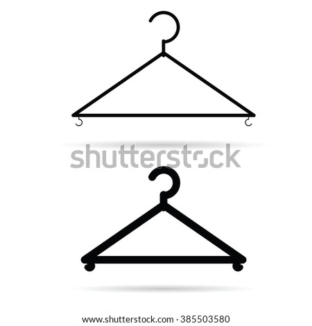 clothes hangers illustration in black - stock vector