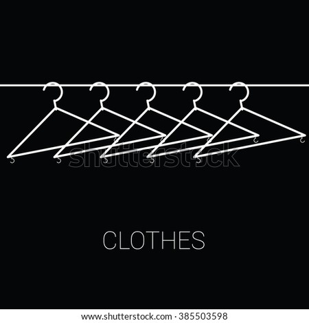 clothes hangers illustration on black background - stock vector