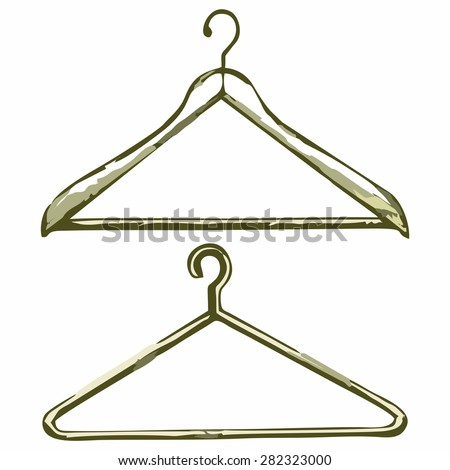 Clothes hangers. Shades of green and yellow. Doodle style