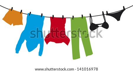 clothes hanging on a clothesline (shirt, boxer short, men's hooded sweatshirt with pocket, pants, panties, bra)