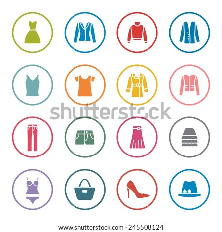 Clothes icon set - stock vector