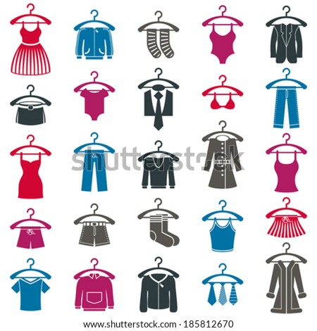 Clothes icon set, vector collection of fashion signs. - stock vector