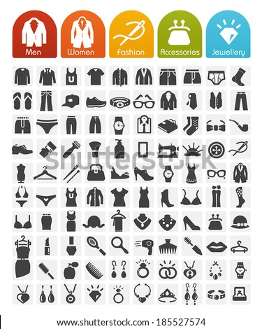 Clothes Icons Bulk Series - 100 Icons - stock vector