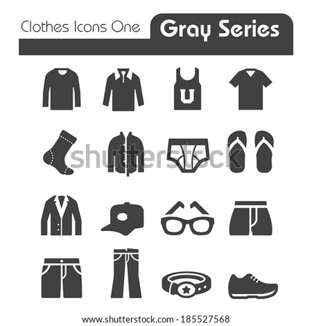 Clothes Icons Gray Series One - stock vector