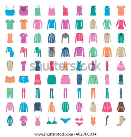 Clothes icons. Icons women fashion clothes. Colored silhouette - stock vector