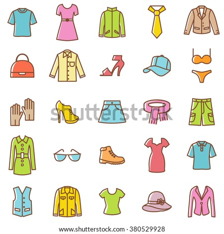 Clothes icons set.Vector - stock vector