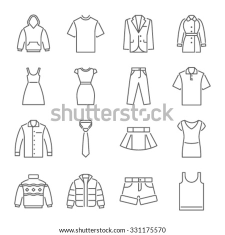 Clothes icons, thin line style  - stock vector