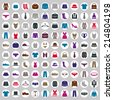 Clothes icons vector collection, vector icon set of fashion signs and symbols. - stock vector
