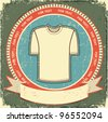 Clothes label set on vintage old paper.Vector t-shirt background - stock vector