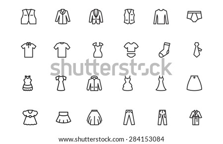 Clothes Line Vector Icons 2 - stock vector