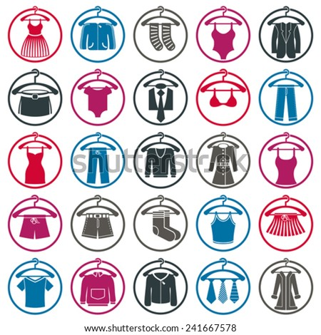 Clothes on a hangers icon set, vector collection of fashion signs. - stock vector