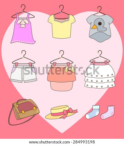Clothes on hangers and accessories for girl. - stock vector