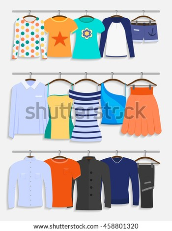 Clothes on hangers. Men`s, women`s and teenager`s clothes in flat style vector illustration - stock vector