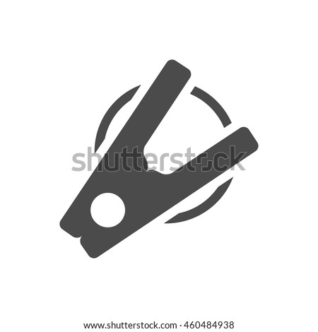 Clothes peg icon in black and white grey single color. Clothes pin clamp - stock vector