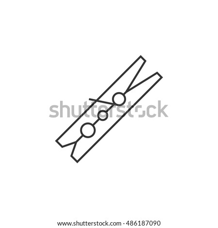 Clothes peg icon in thin outline style. Clothes pin clamp