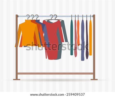 clothes racks with dresses on hangers flat style vector