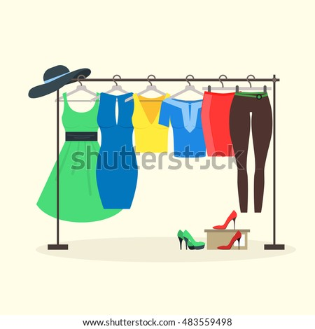 clothes racks with women wear on hangers flat design style of girl clothes set - Clothes Racks