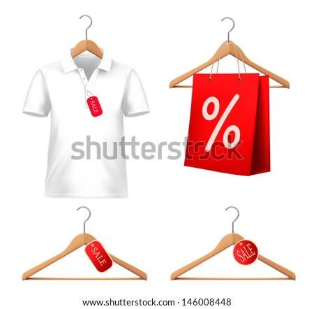 Clothes sale set with hangers and price tags. Concept of discount shopping Vector illustration.
