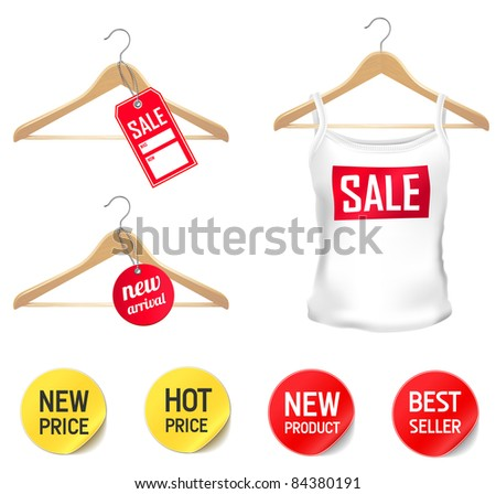 clothes sellout set - new arrival, sale, best seller, new price - stock vector