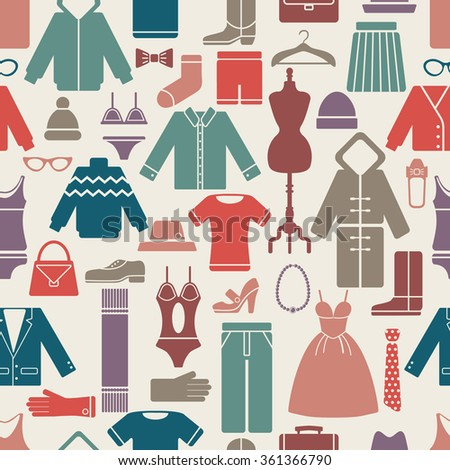 clothes set seamless pattern. vector illustration eps8 with clipping mask - stock vector