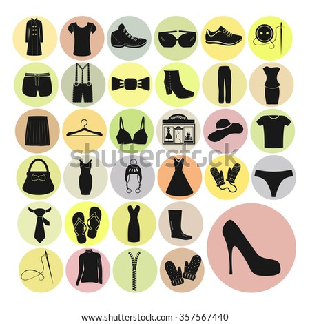 Clothes set vector icons. Clothes icon illustration. Clothes icon web. Clothes icon Eps10. Clothes icon image. Clothes icon logo. Clothes icon sign. Clothes icon art. Clothes icon flat. Clothes app.  - stock vector