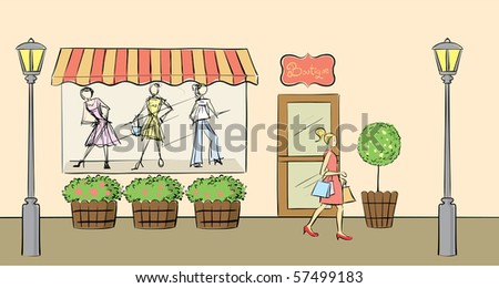 Clothes shop front view in vector format. - stock vector