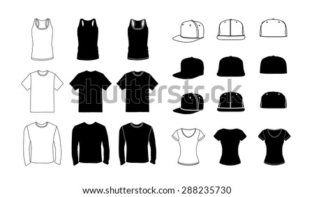 Clothes silhouette collection, vector eps10 illustration - stock vector