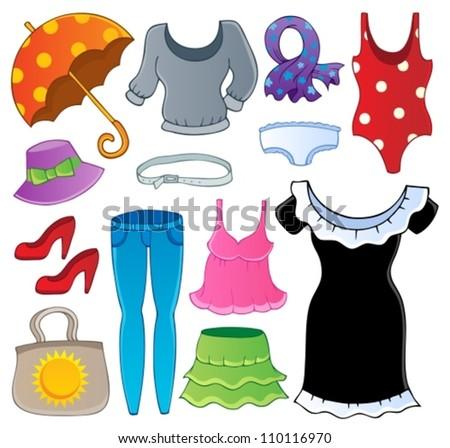 Clothes theme collection 2 - vector illustration. - stock vector